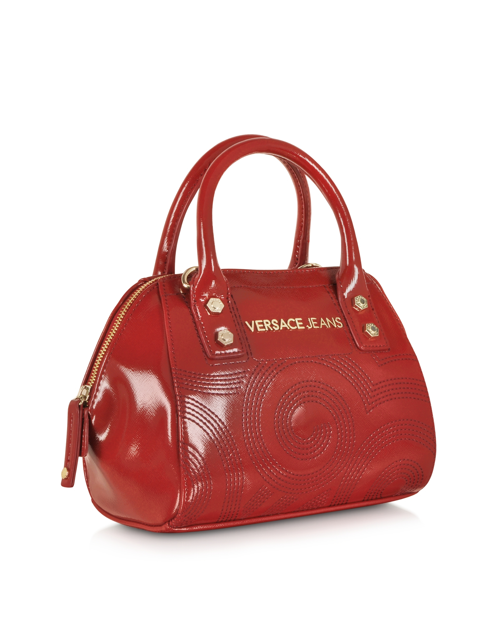 Versace Jeans Dark Red Patent Eco Leather Embroidered Mini Satchel ... 7db9e1052e