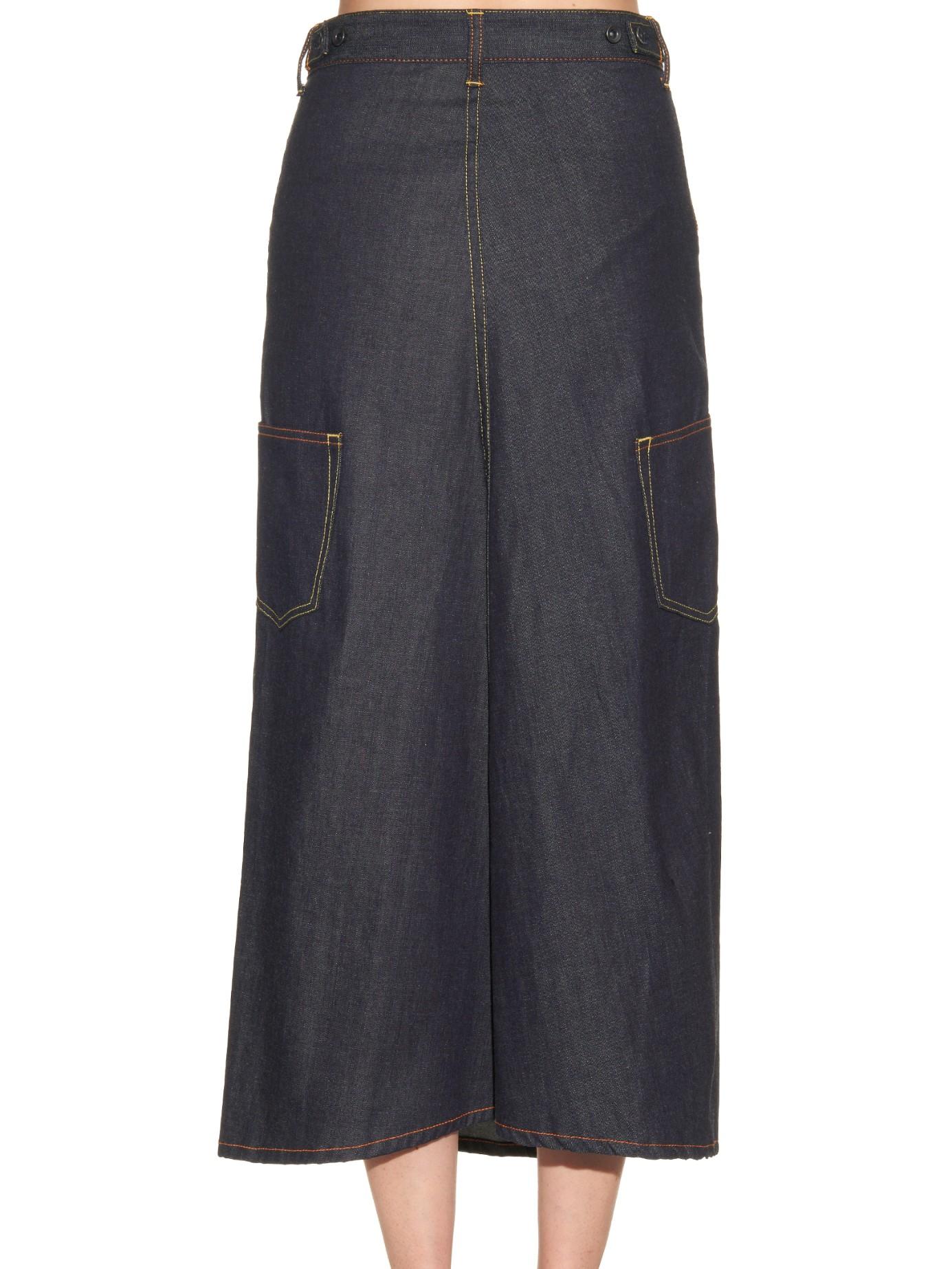 Y's yohji yamamoto A-line Denim Maxi Skirt in Blue | Lyst