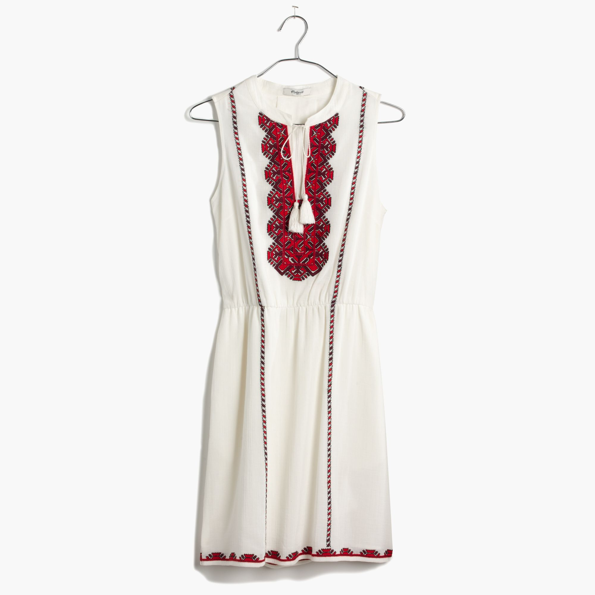 Madewell embroidered tassel dress in white lyst