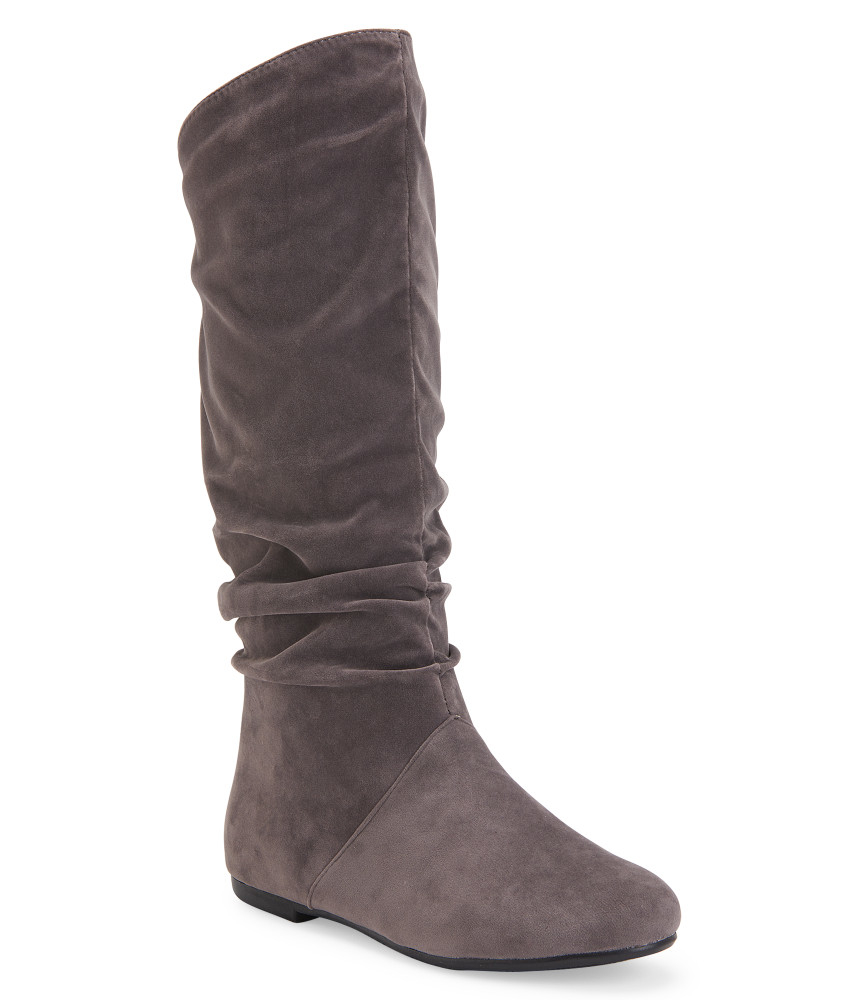 blue suede shoes faux suede scrunched boot in gray grey