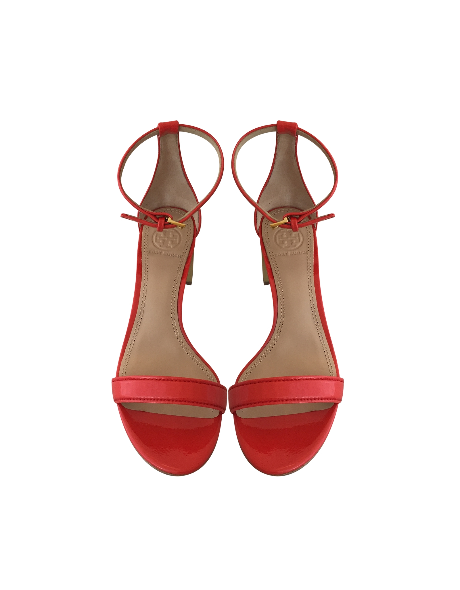 5b4d1fccbc17 Tory Burch Cecile Pepper Red Leather Mid Heel Sandal in Red - Lyst