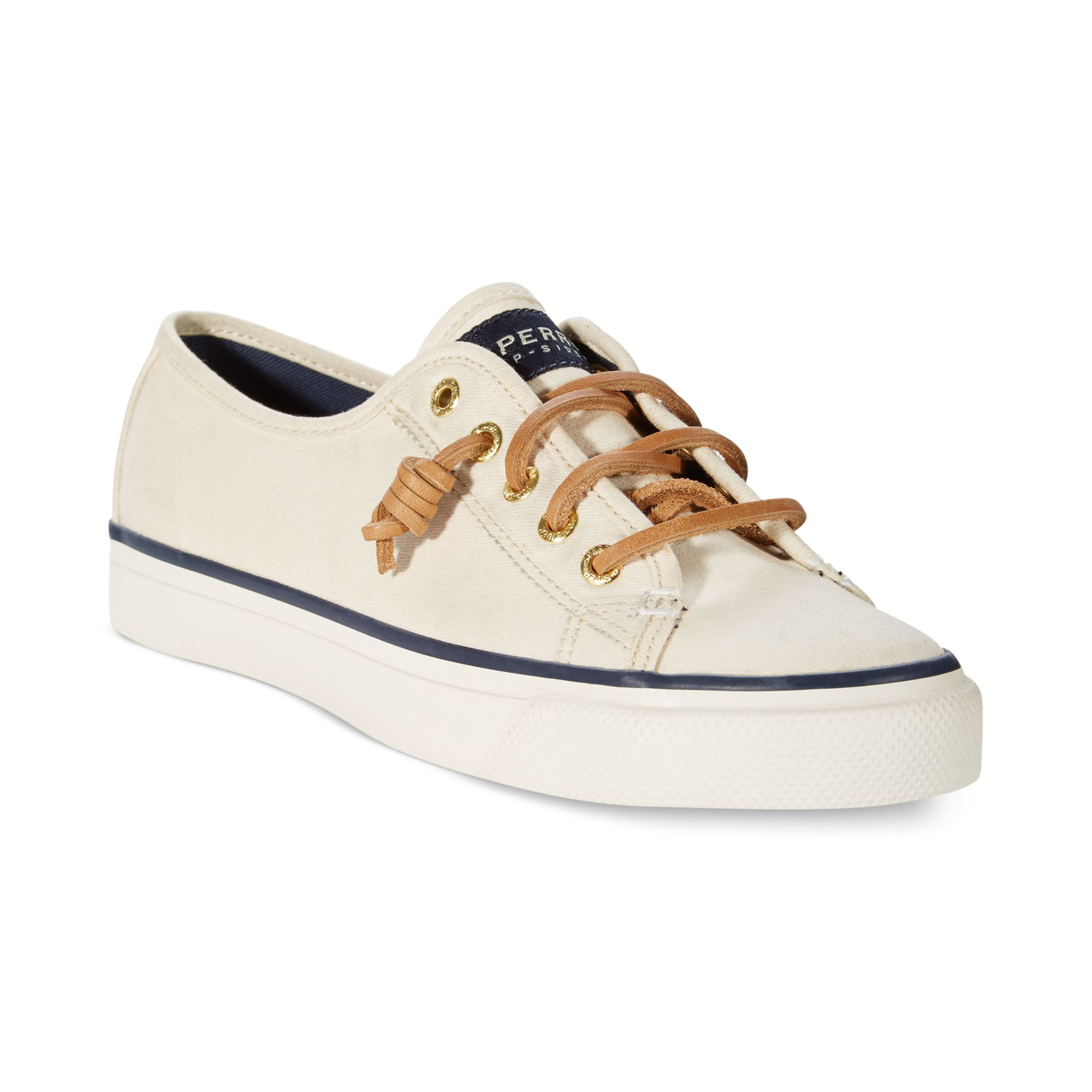sperry top sider s seacoast canvas sneakers in white