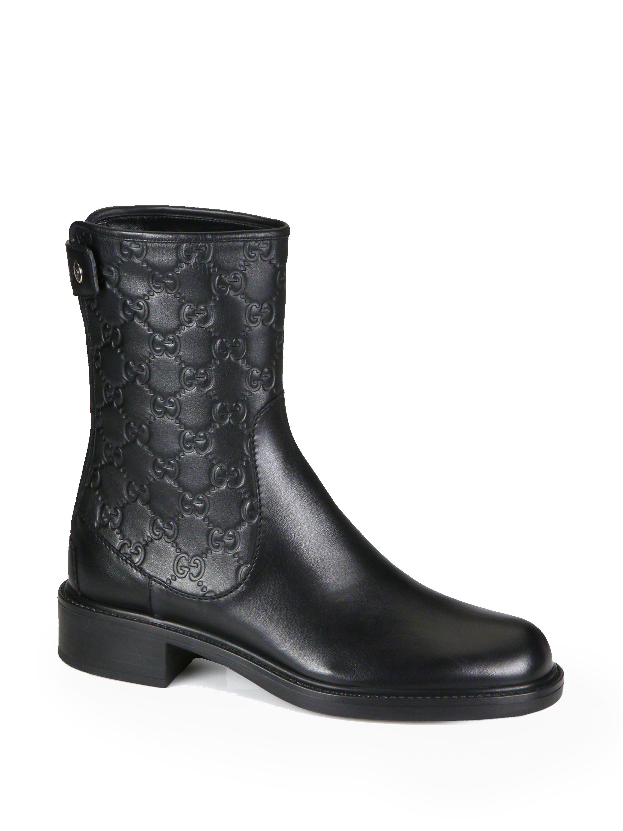 Gucci Gg Leather Ankle Boots in Black