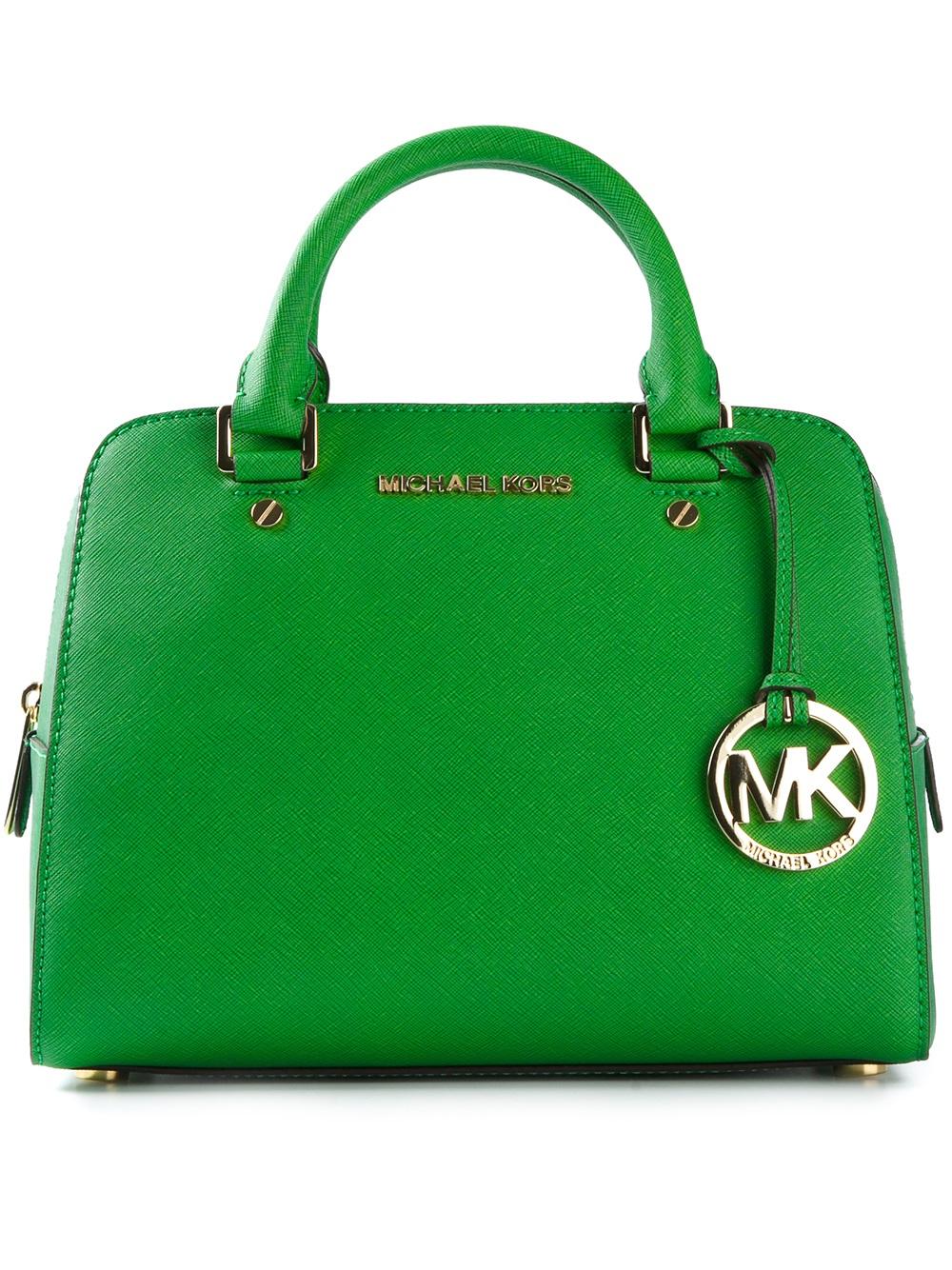 Michael Michael Kors Logo Fob Bowling Bag In Green Lyst