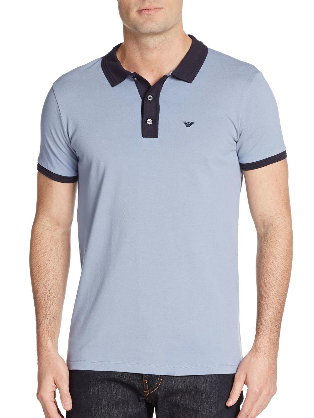 0899ffe8 Emporio Armani Contrast Trim Polo Shirt in Blue for Men - Lyst