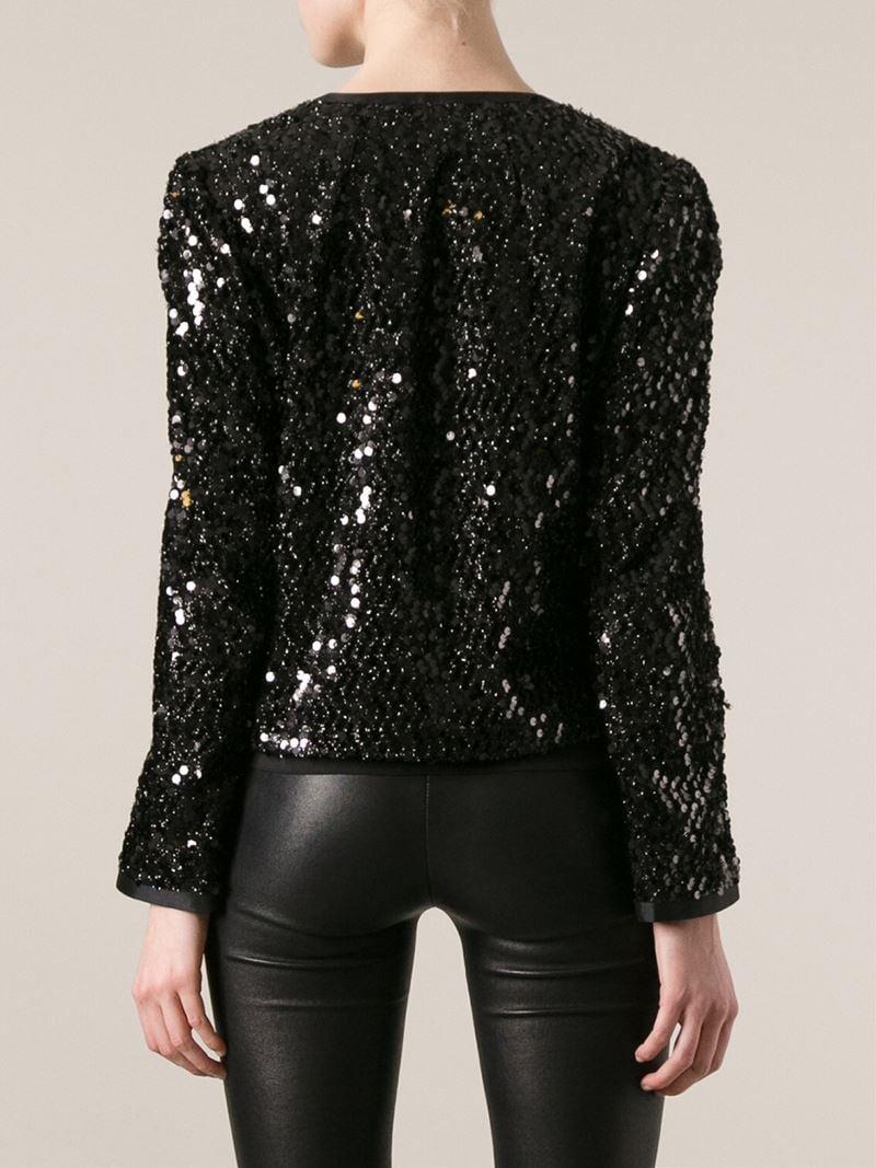 Dolce Amp Gabbana Sequin Jacket In Black Lyst