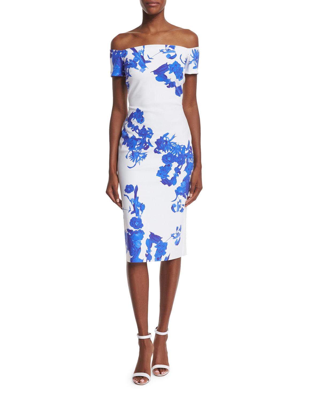 la petite robe di chiara boni off the shoulder floral print sheath dress in blue lyst. Black Bedroom Furniture Sets. Home Design Ideas