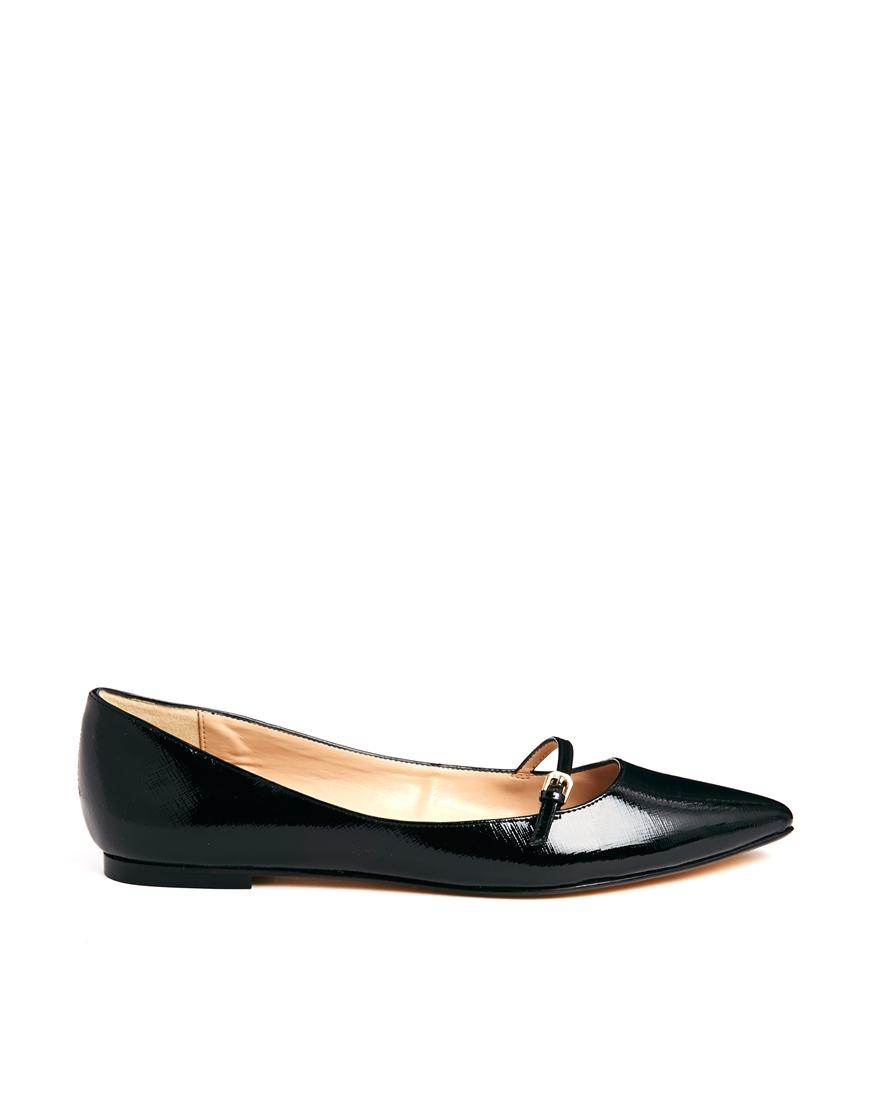 Dune Mahilda Mary Jane Pointed Flat Shoe In Black (Blacksaffiano)   Lyst