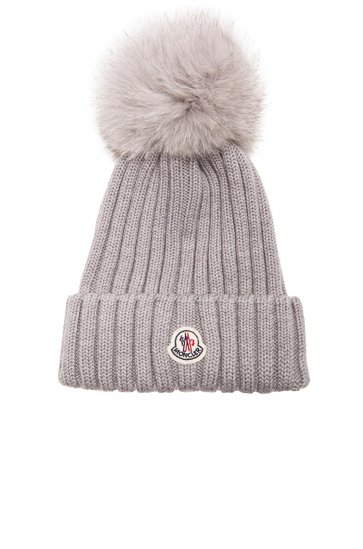 da5e150e417 Lyst - Moncler Fur Pom Ribbed Beanie in Gray