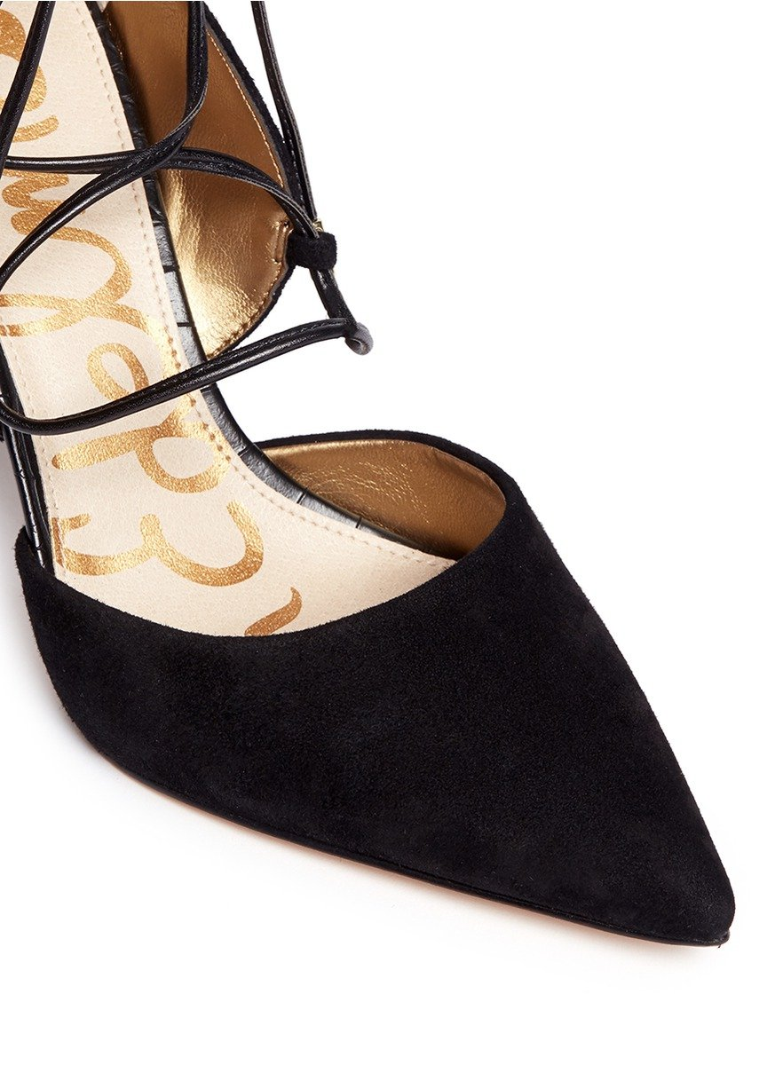 56fe8ae7391e Lyst - Sam Edelman  dayna  Suede Lace-up Pumps in Black