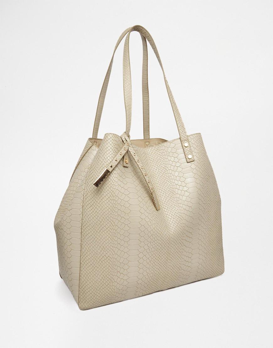 asos croc shopper bag in gray lyst
