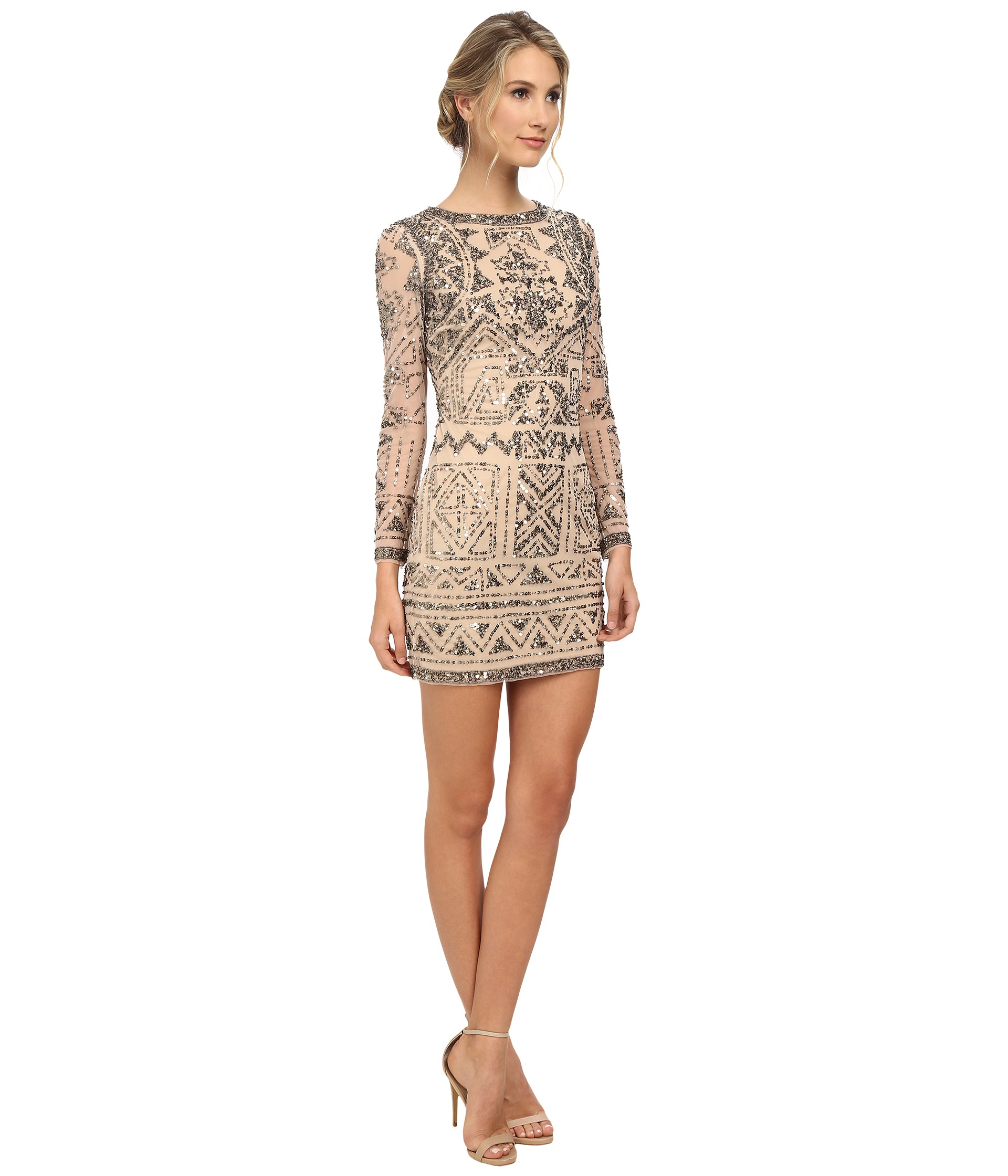 Lyst - Adrianna Papell Long Sleeve Beaded Cocktail Dress in Natural