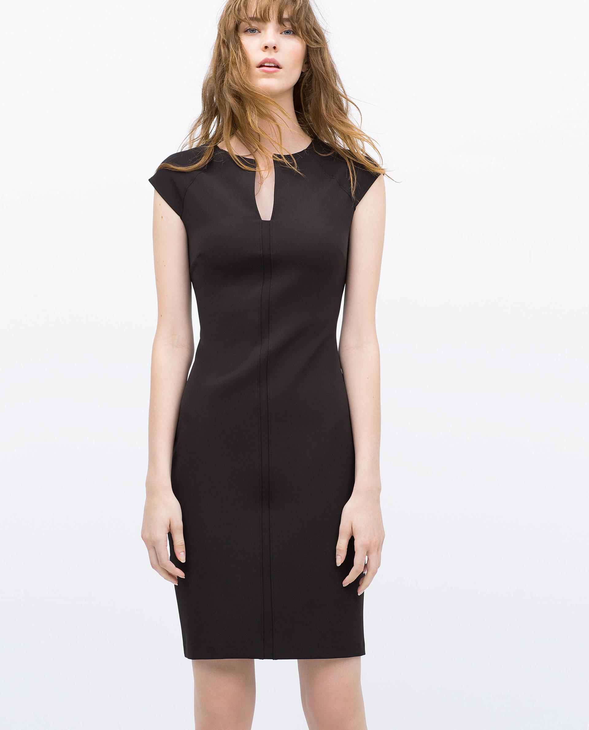 Zara Tube Dress With Raglan Sleeves in Black   Lyst - photo#44