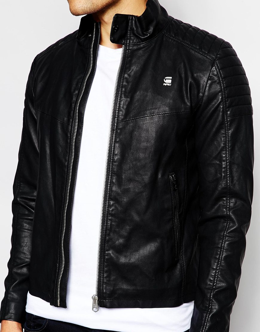 g star raw biker jacket ryon faux leather in black for men lyst. Black Bedroom Furniture Sets. Home Design Ideas