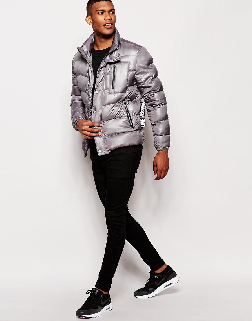44943aea37bb5 Love Moschino Padded Jacket in Gray for Men - Lyst