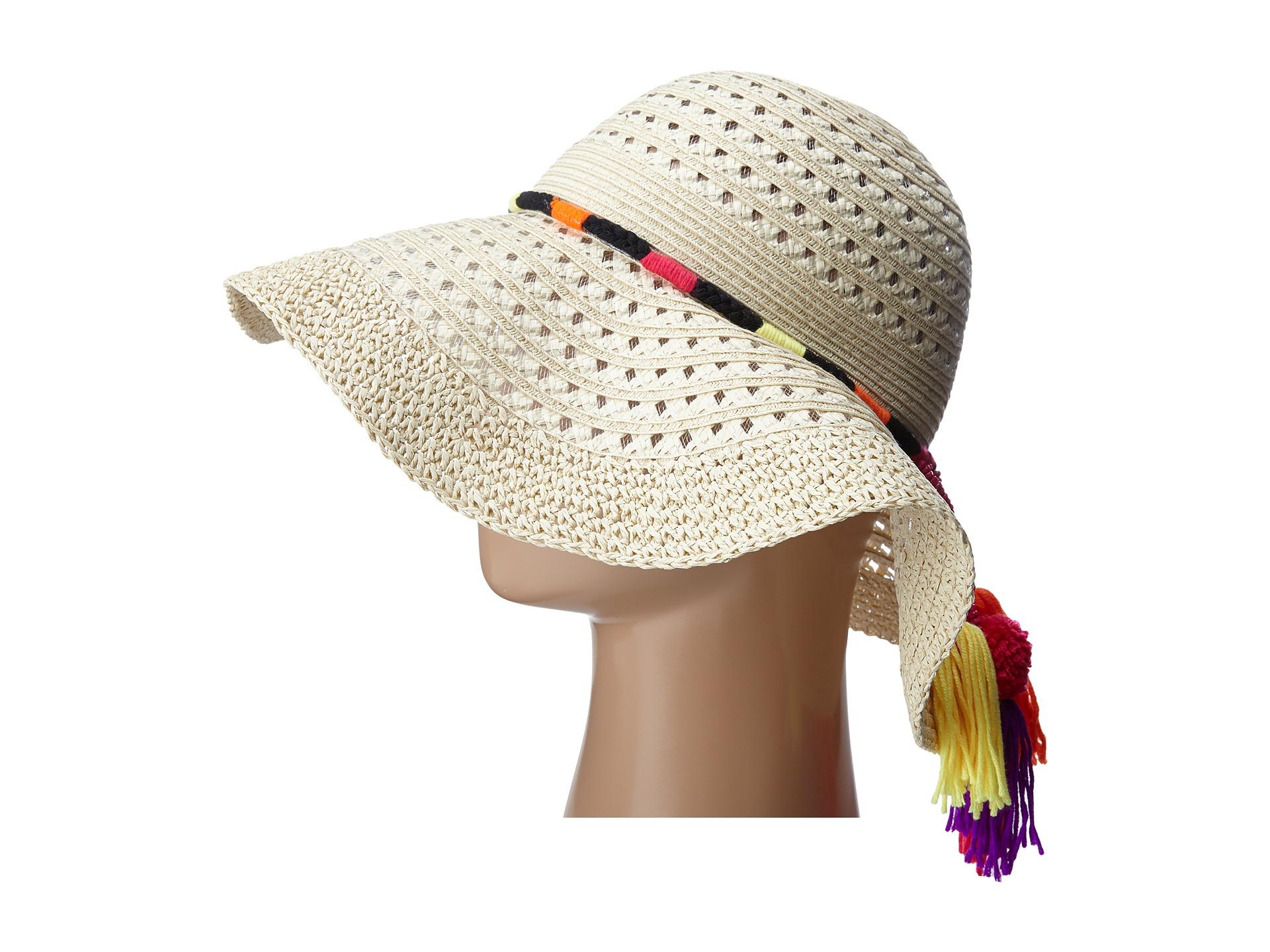 1f72161dc071c Betsey Johnson Floppy Straw Hat With Pom Pom Tassels - Lyst