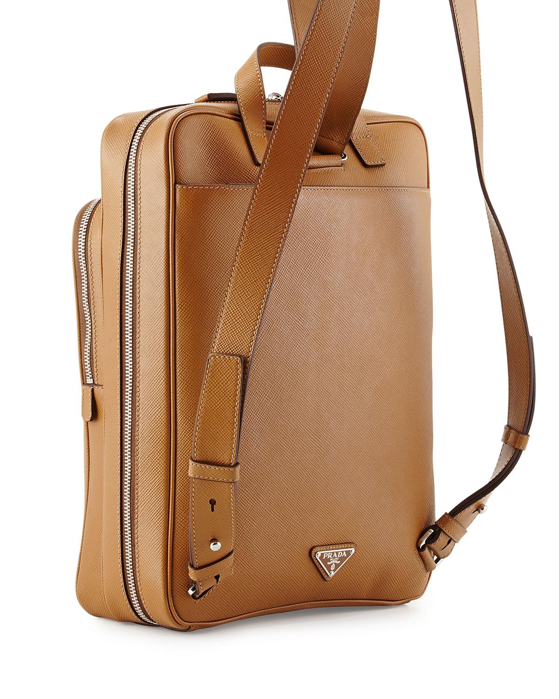 Prada Saffiano Cuir Slim Backpack in Brown for Men (CARAMEL) | Lyst