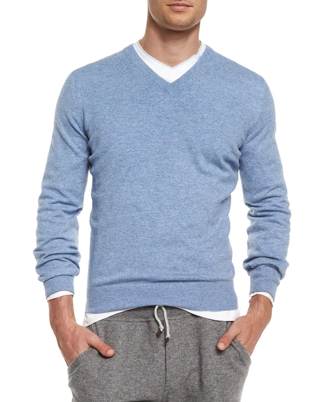 Brunello cucinelli Cashmere V-neck Sweater in Blue for Men | Lyst