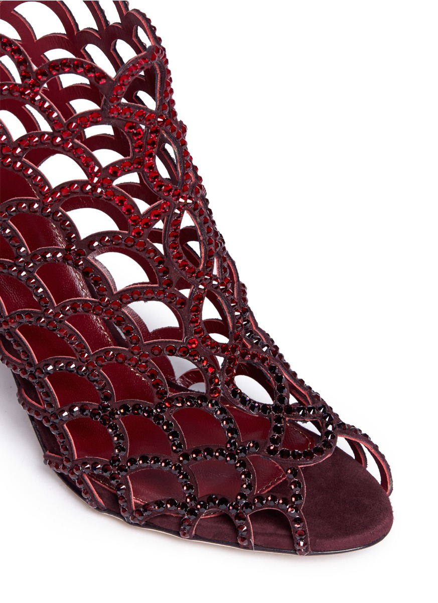 Lyst Sergio Rossi Mermaid Rhinestone Cage Sandals In Red