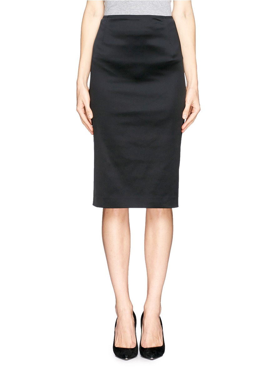st structured stretch satin pencil skirt in black lyst