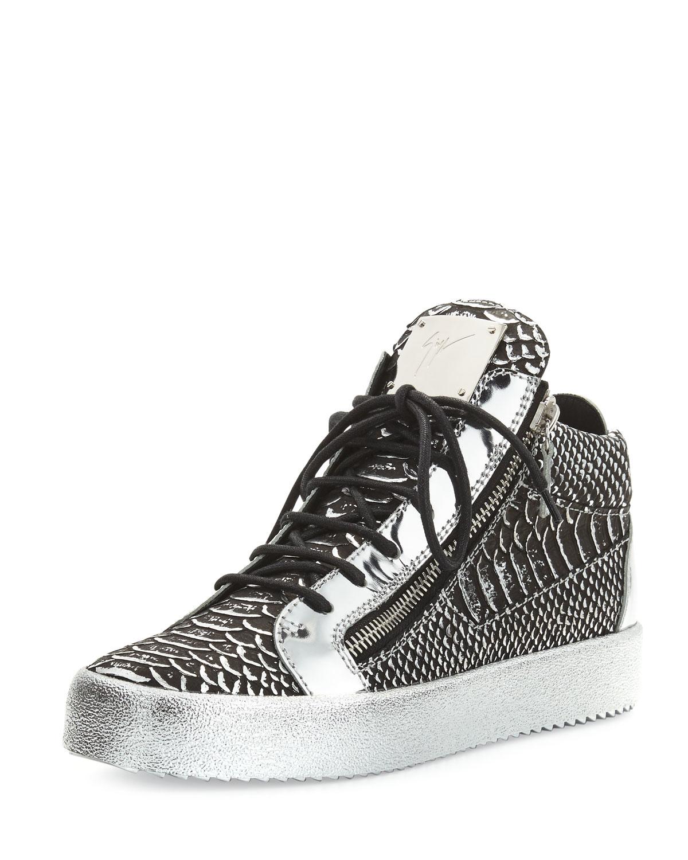 06f2fcb1f1f Giuseppe Zanotti Black Textured Metallic Leather Mid-top Sneaker for men