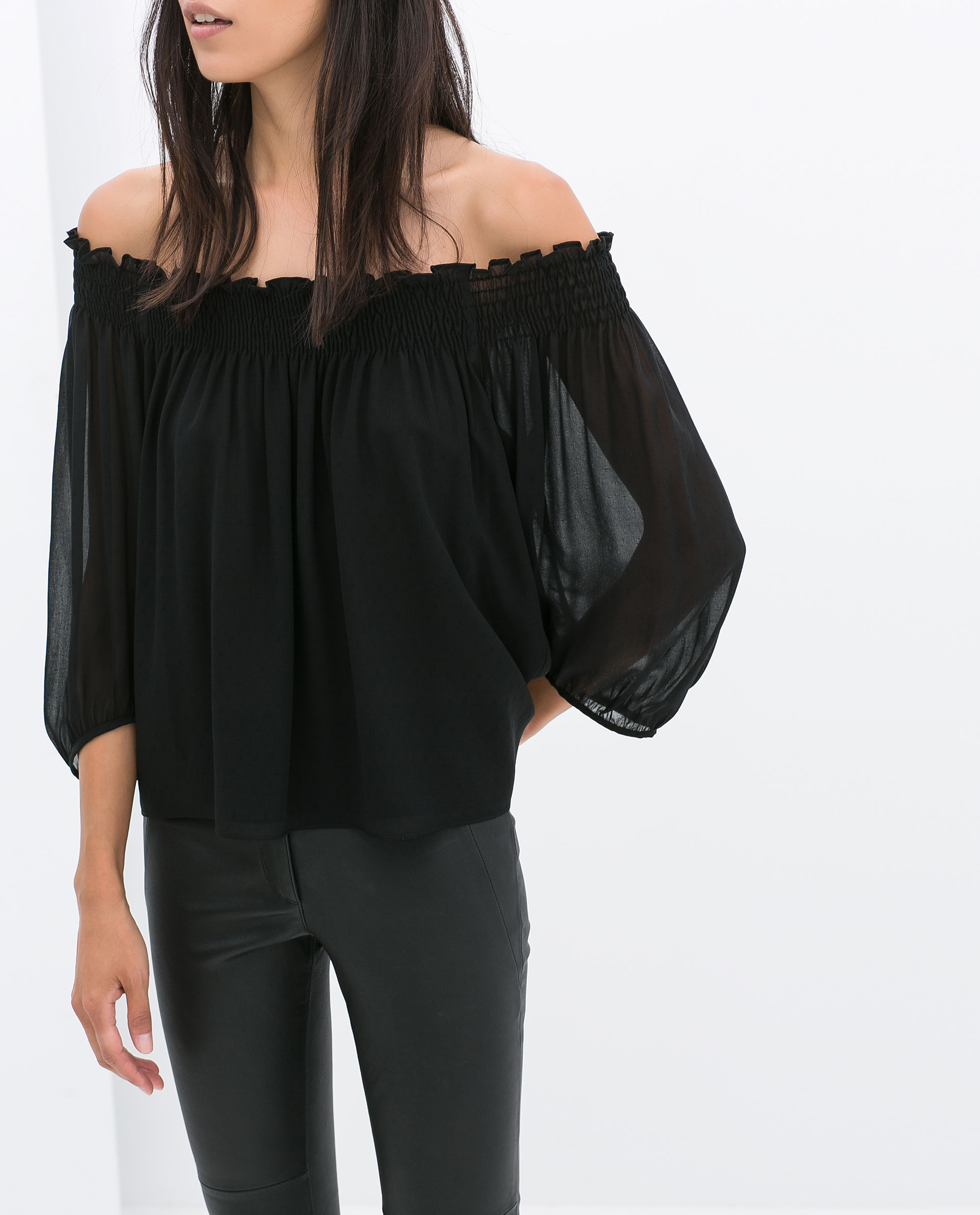 Zara Offshoulder Blouse In Black Lyst