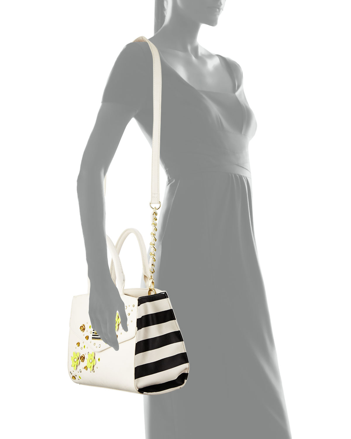 Betsey johnson Pushing Daisies Striped-side Satchel Bag in Natural ...