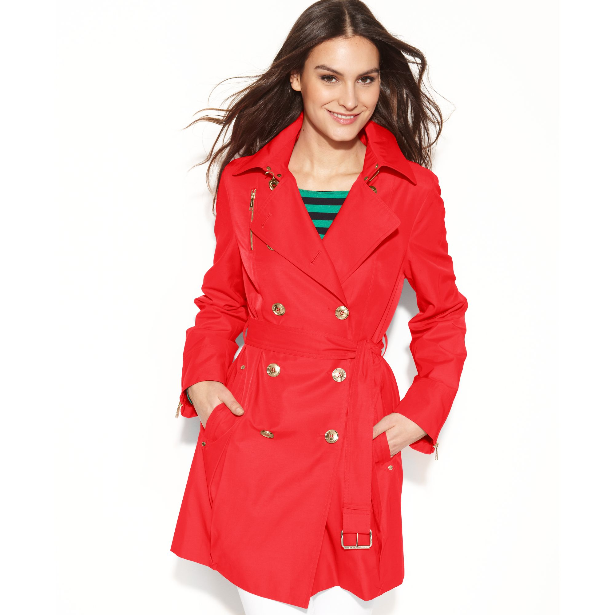 Michael kors Double Breasted Belted Trench Coat in Red   Lyst