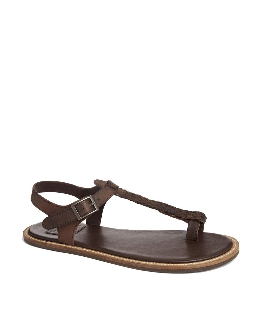 Asos Sandals With Woven Leather Strap In Brown For Men Lyst