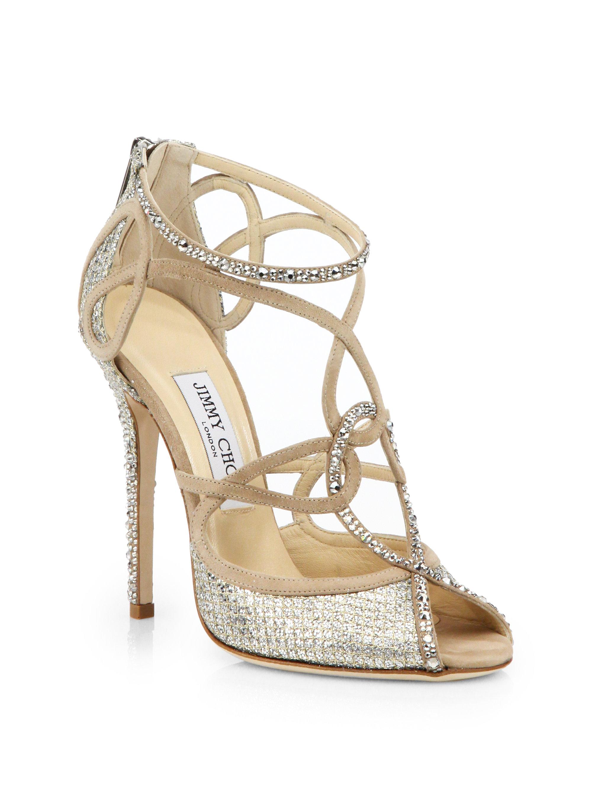0e2d29a7abdad7 Lyst - Jimmy Choo Swarovski Crystal-Covered Suede Sandals in Metallic
