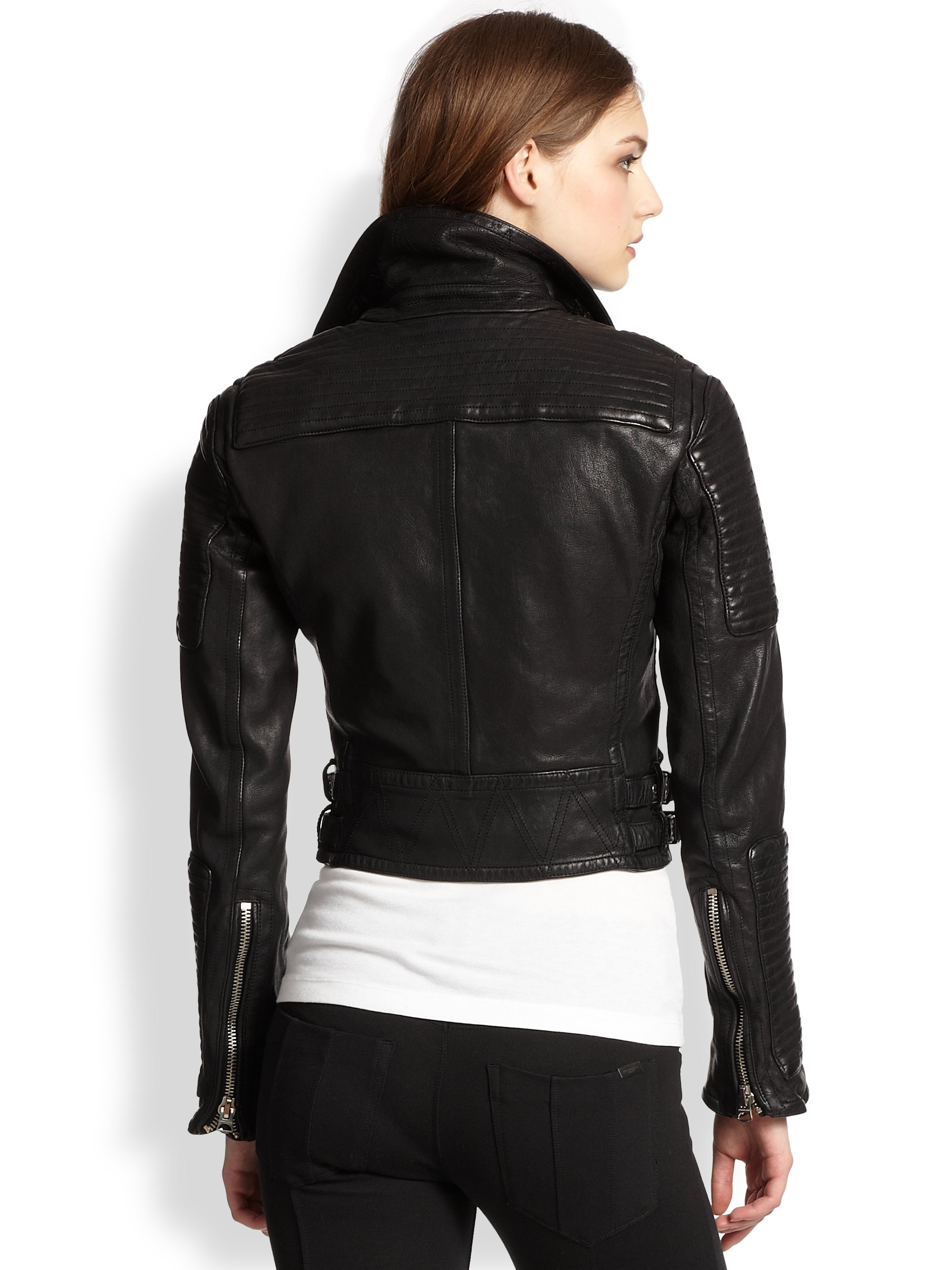 Burberry Brit Loseley Cropped Leather Jacket In Black Lyst