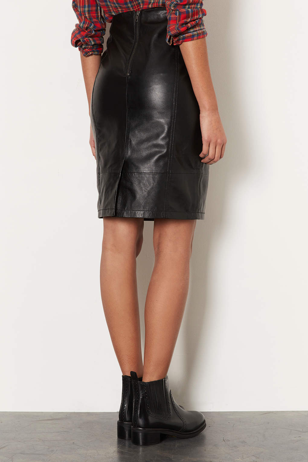 Topshop Leather Panel Pencil Skirt in Black | Lyst