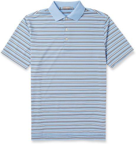 Peter millar henley striped jersey golf polo shirt in blue for Peter millar golf shirts