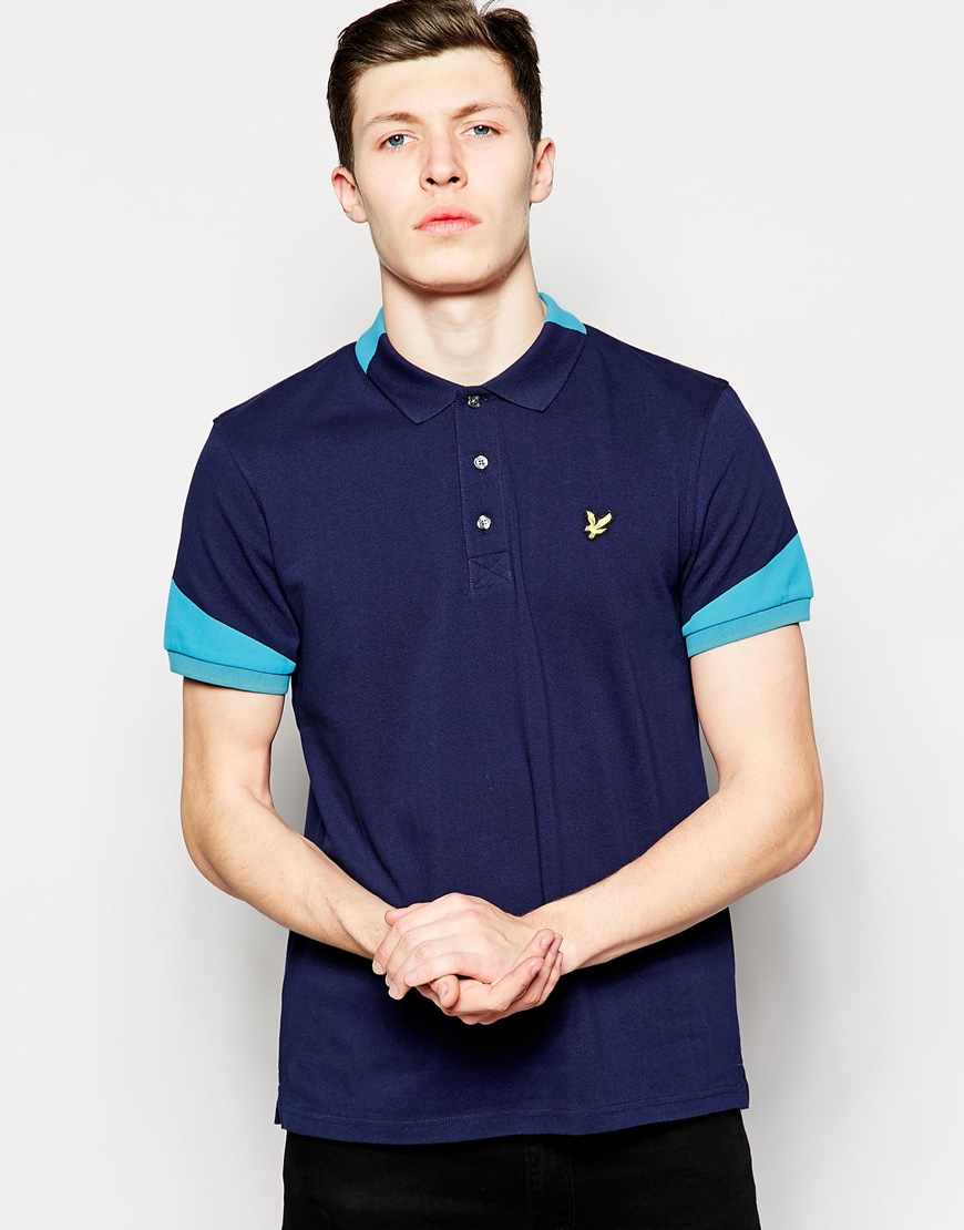 lyst lyle scott lyle scott polo with contrast collar and sleeves in blue for men. Black Bedroom Furniture Sets. Home Design Ideas