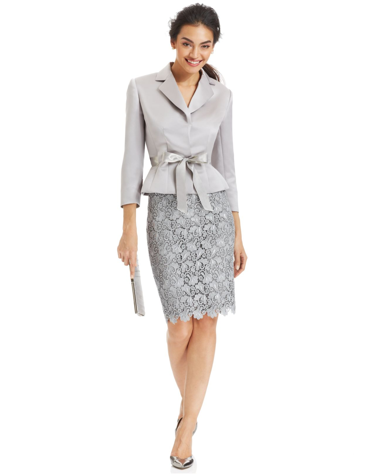 Lyst Tahari Belted Jacket Lace Skirt Suit In Gray