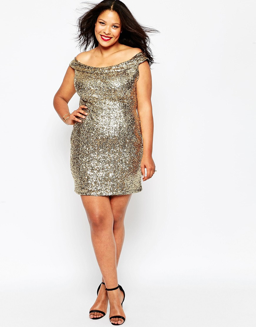 Plus Size Bardot Dress In Sequins