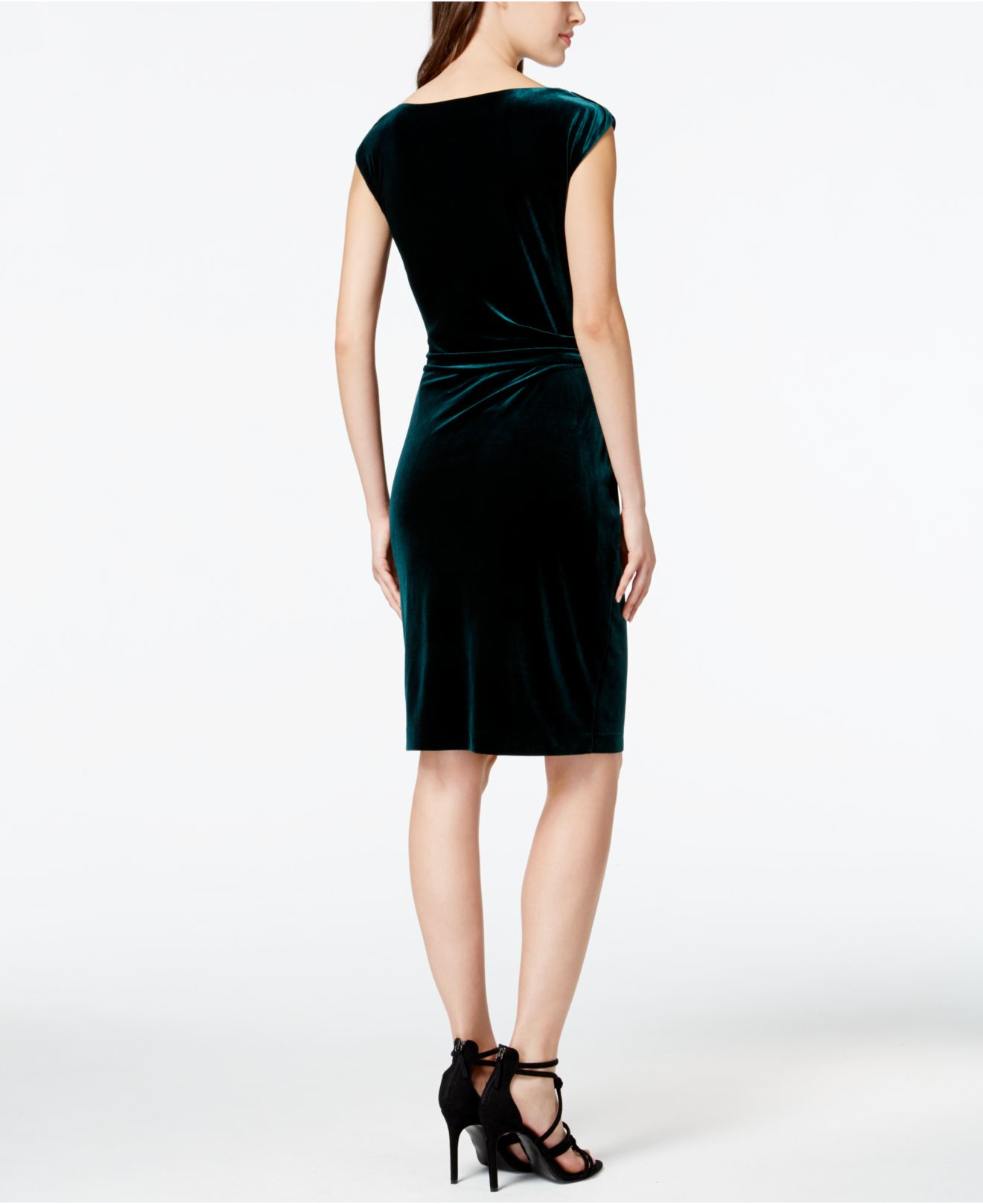 Vince Camuto Cap Sleeve Velvet Cocktail Dress In Green