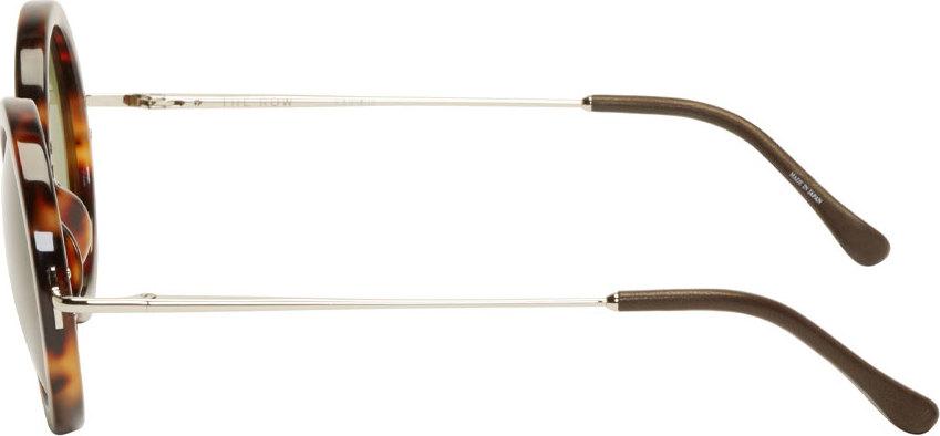 The Row Brown Tortoiseshell Signature Round Sunglasses