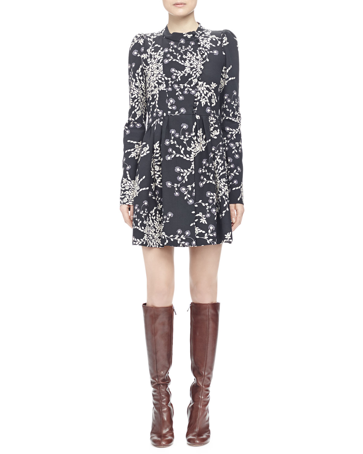 Lyst Chlo 233 Bouquet Print Button Front Dress In Black
