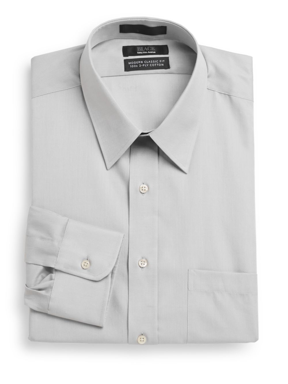 Saks fifth avenue black label modern classic fit two ply for 2 ply cotton dress shirt