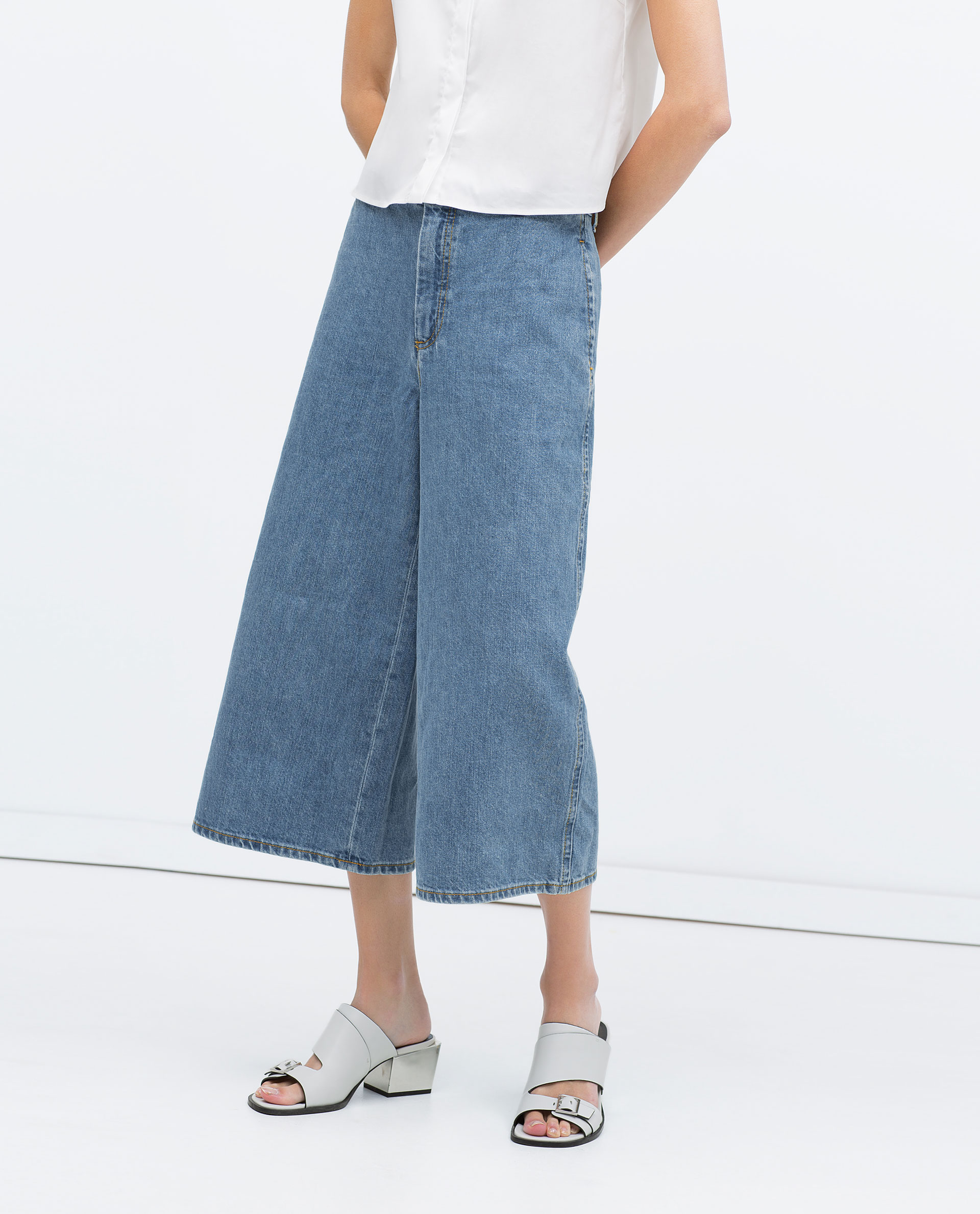 Zara Denim Culottes In Blue Lyst