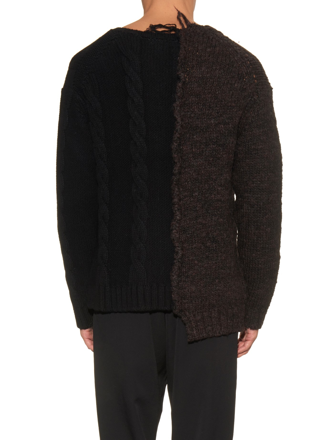 Yohji Yamamoto Mixed-knit Wool Sweater in Brown (Black) for Men