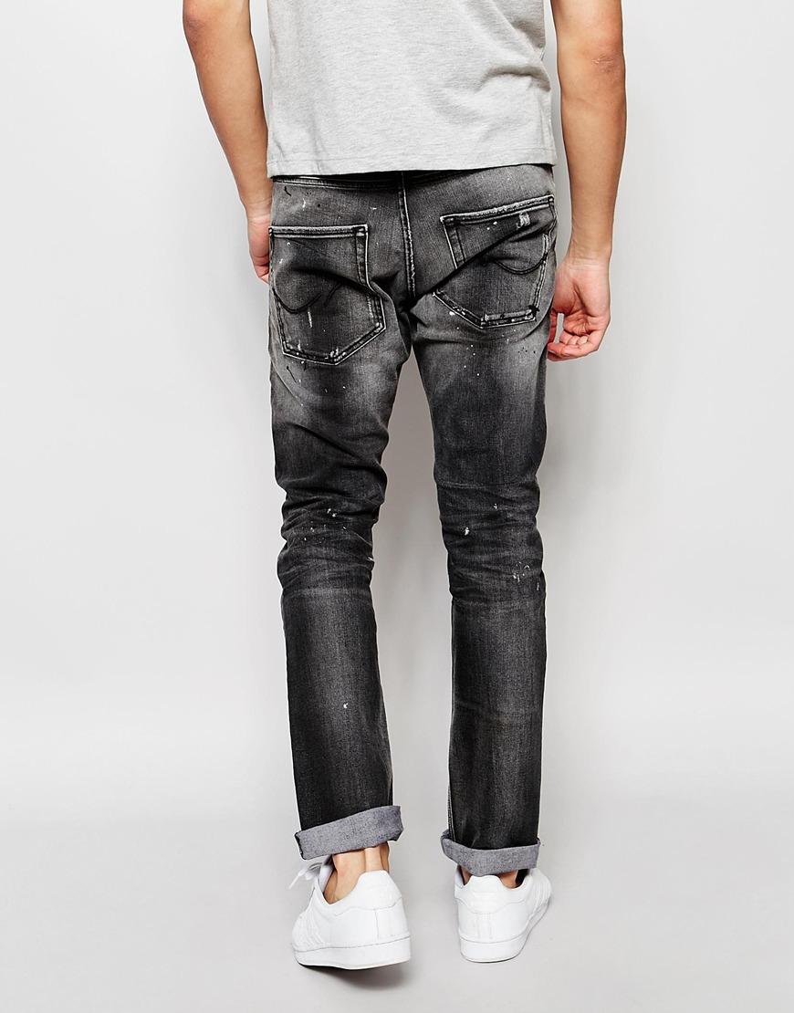 jack jones slim fit jeans with rips in gray for men lyst. Black Bedroom Furniture Sets. Home Design Ideas