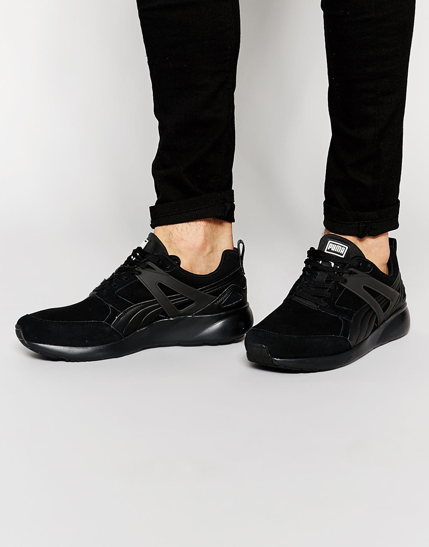 PUMA Arial Suede Trainers in Black for Men - Lyst
