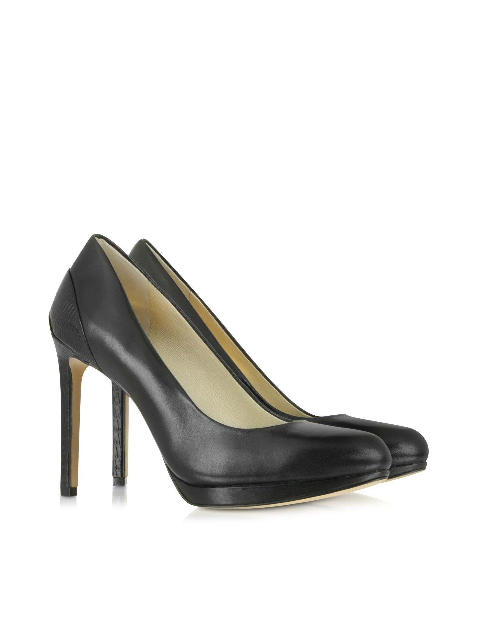 lyst michael kors yasmin black leather pump in black. Black Bedroom Furniture Sets. Home Design Ideas