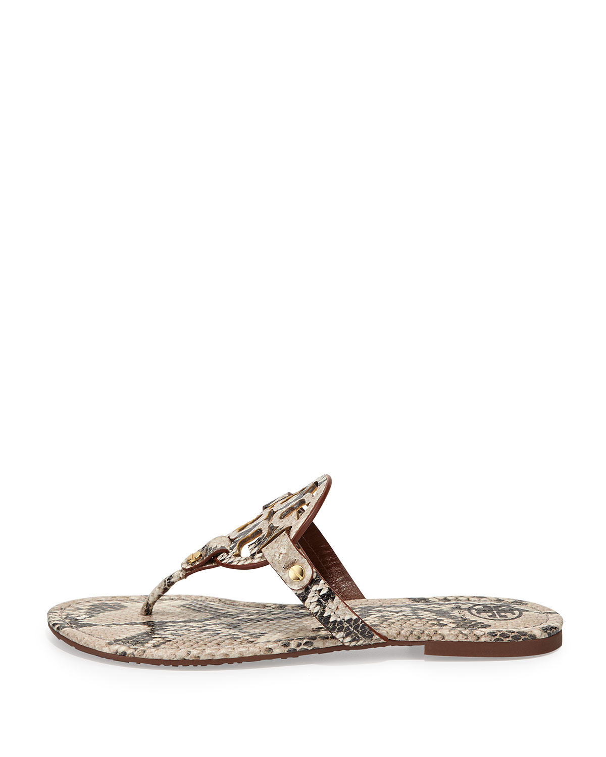 2270b189459d60 Lyst - Tory Burch Miller Lizardprint Leather Thong Sandals in Natural