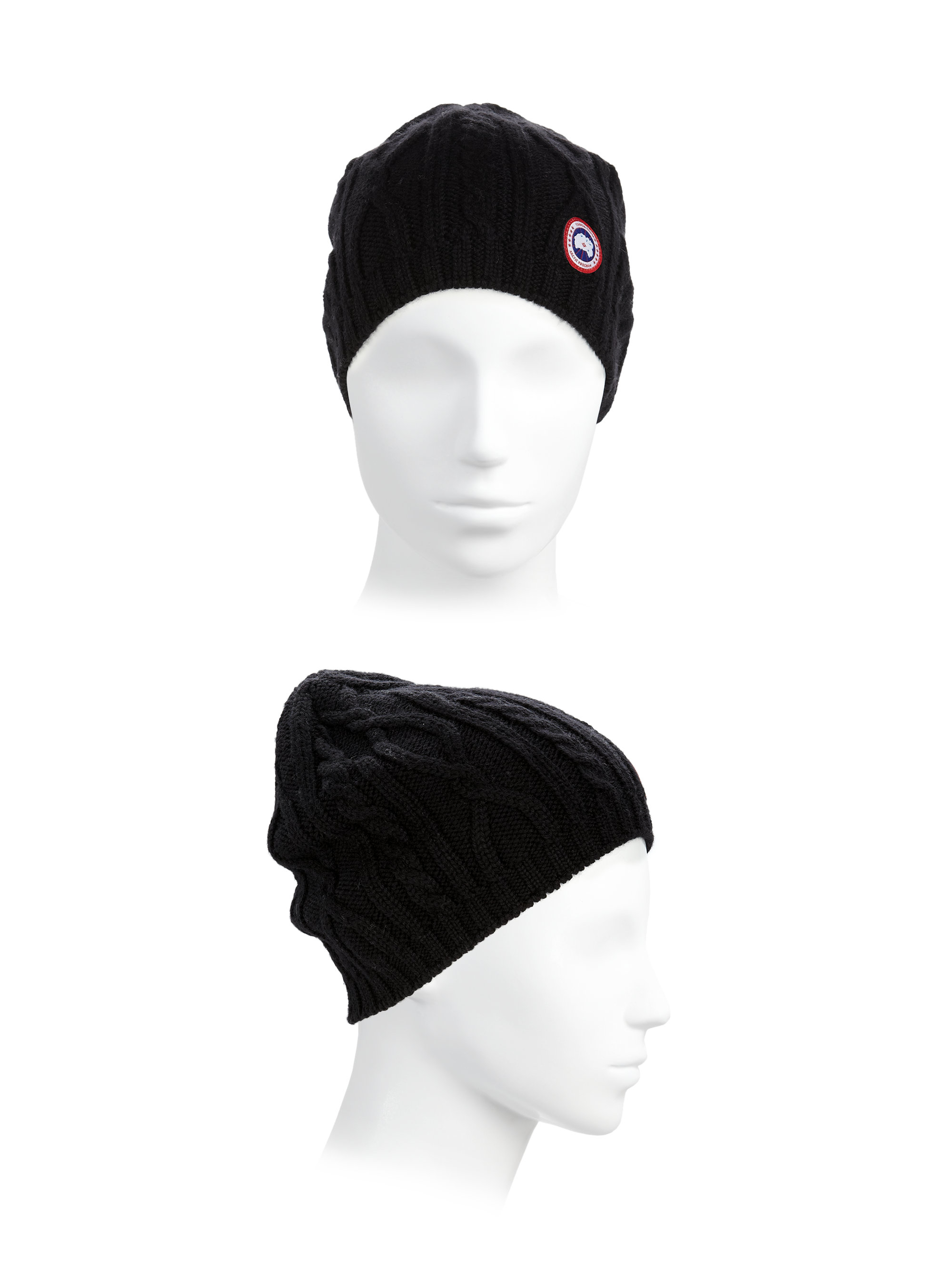 43cfe6cdfaedb Canada Goose Cable-knit Merino Wool Beanie in Black - Lyst