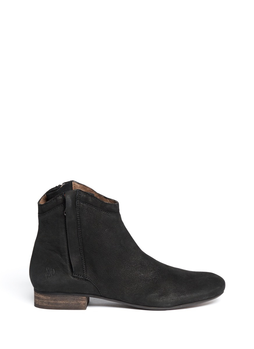 Lyst Sam Edelman Cody Zip Leather Ankle Boots In Black