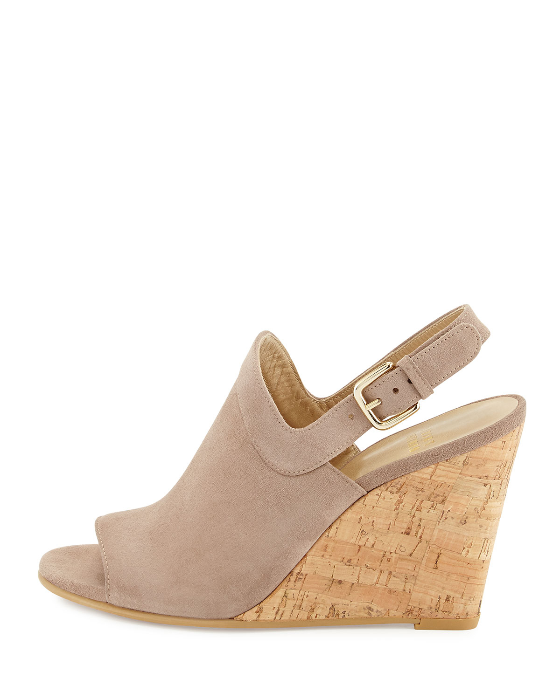 stuart weitzman liner slingback wedge sandals in gray lyst