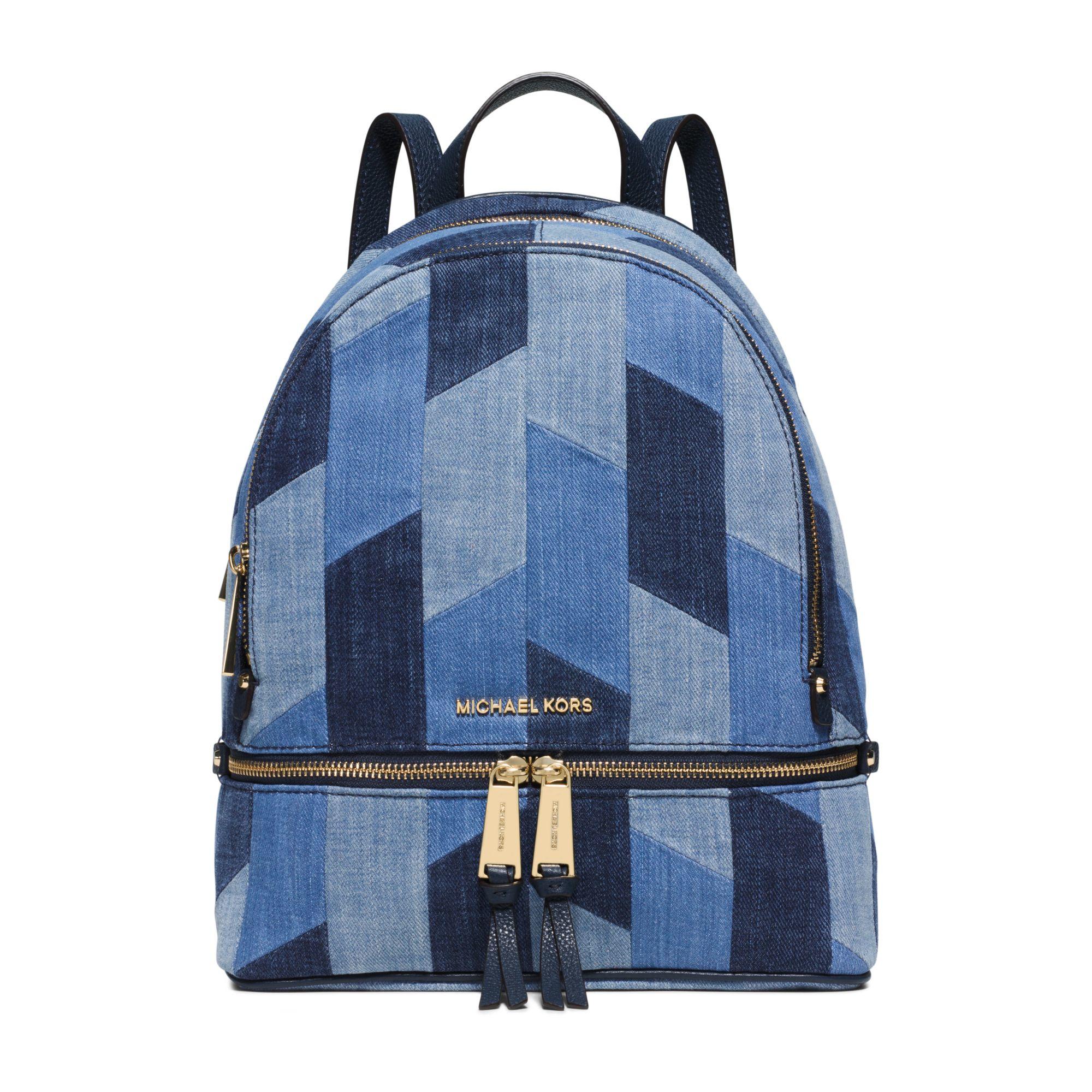 michael kors rhea medium mosaic patchwork denim backpack in blue lyst. Black Bedroom Furniture Sets. Home Design Ideas